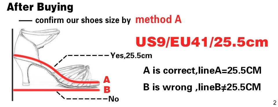 Confirm shoe size - Women Latin dance shoes heeled 5cm or 7cm