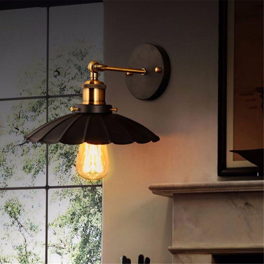 Wall lamps iron black lampshade vintage cage guard - Pasar ...