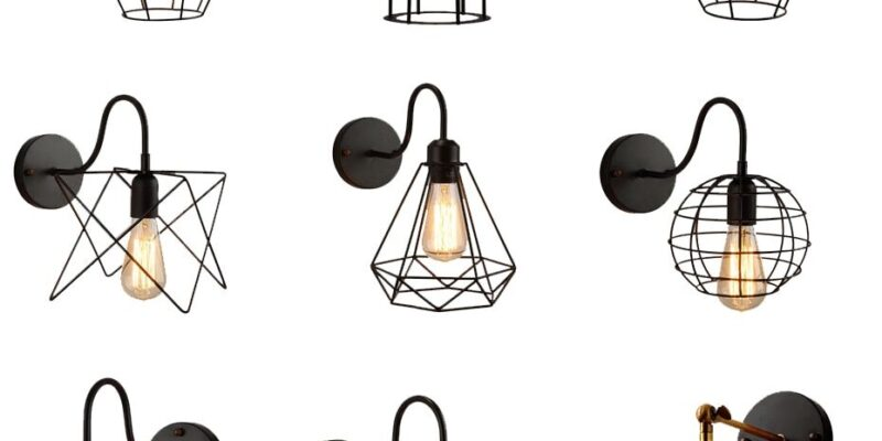 Wall lamps iron black lampshade vintage cage guard