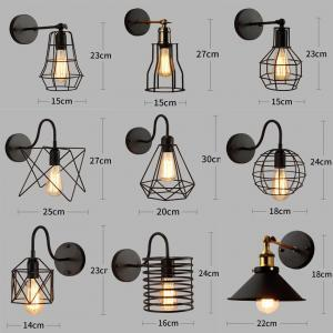 Wall lamps iron black lampshade vintage cage guard