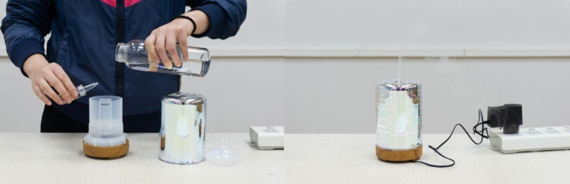 How to use the Night Light 3D aromatic humidifier?step 1 and 2
