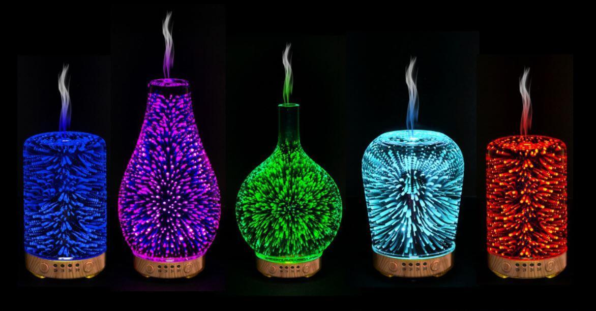 varies designs of 3D aromatic humidifier night light mist
