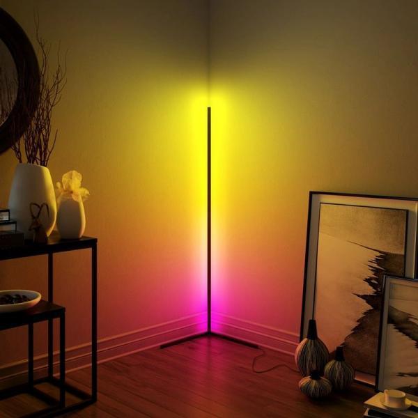 LED corner standing lamp dimmable RGB black white floor lamp