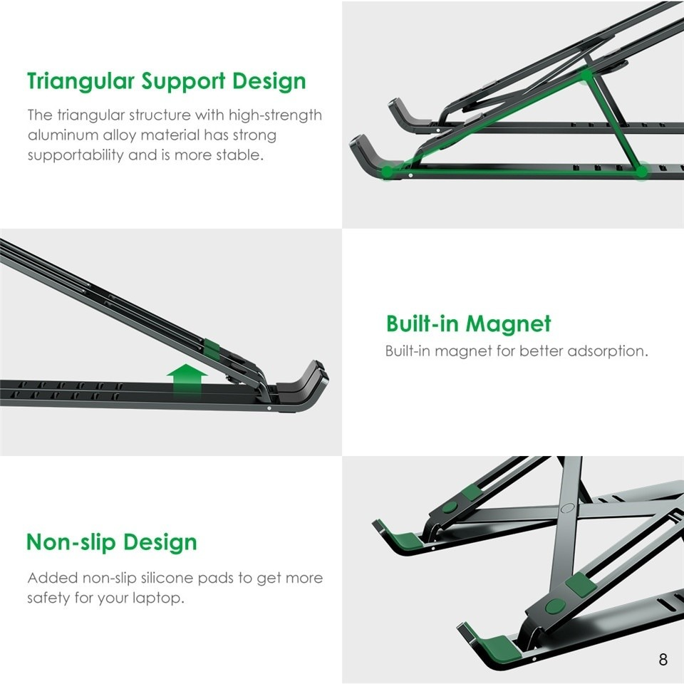 Triangular support, magnet absorption and non-slip mat features of the foldable laptop stand