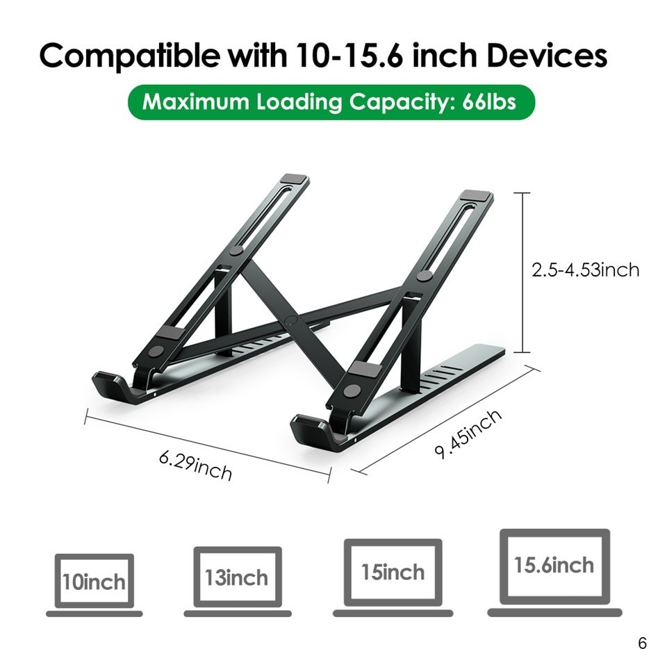 foldable Laptop stand with maximum loading capacity of 66lbs
