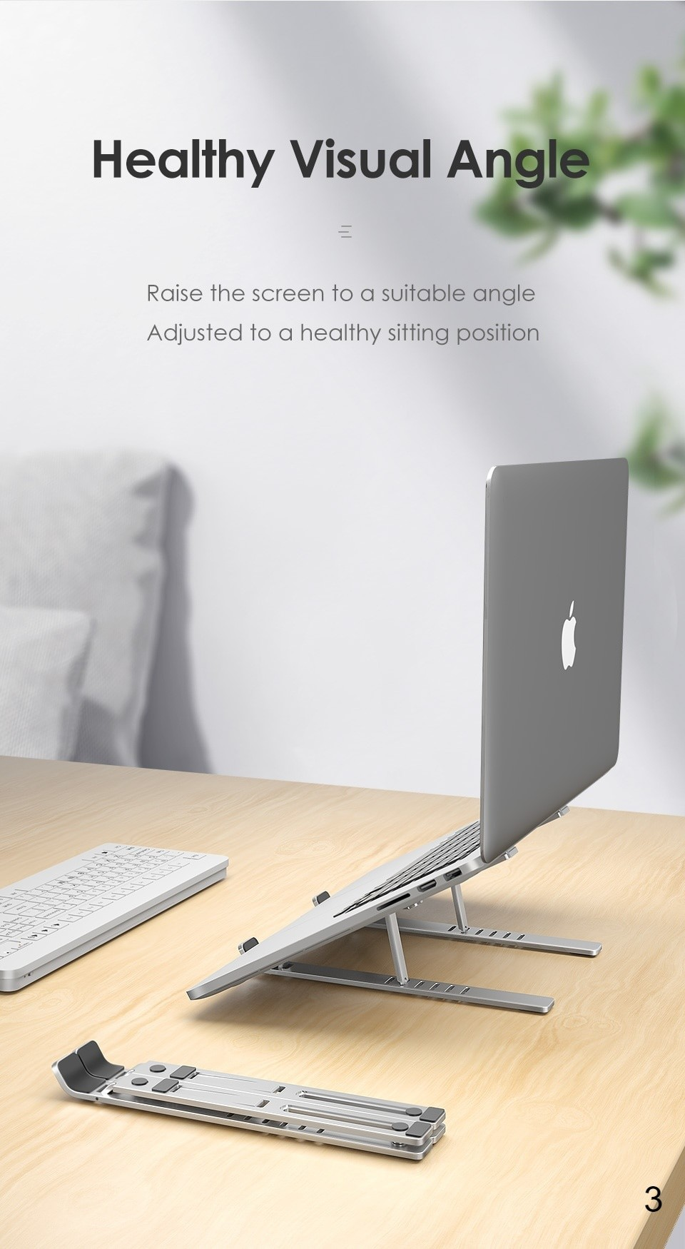 foldable portable design with healthy visual angle laptop stand
