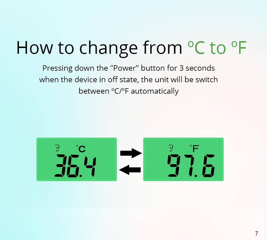 temperature reading switchable between degree C and degree F
