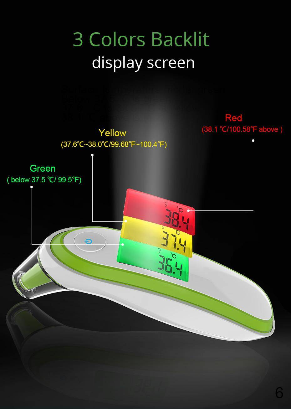 3 colors backlit display screen of the infrared thermometer
