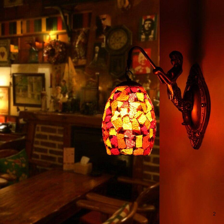 Handmade stained glass lamps antique wall lights Mediterranean style