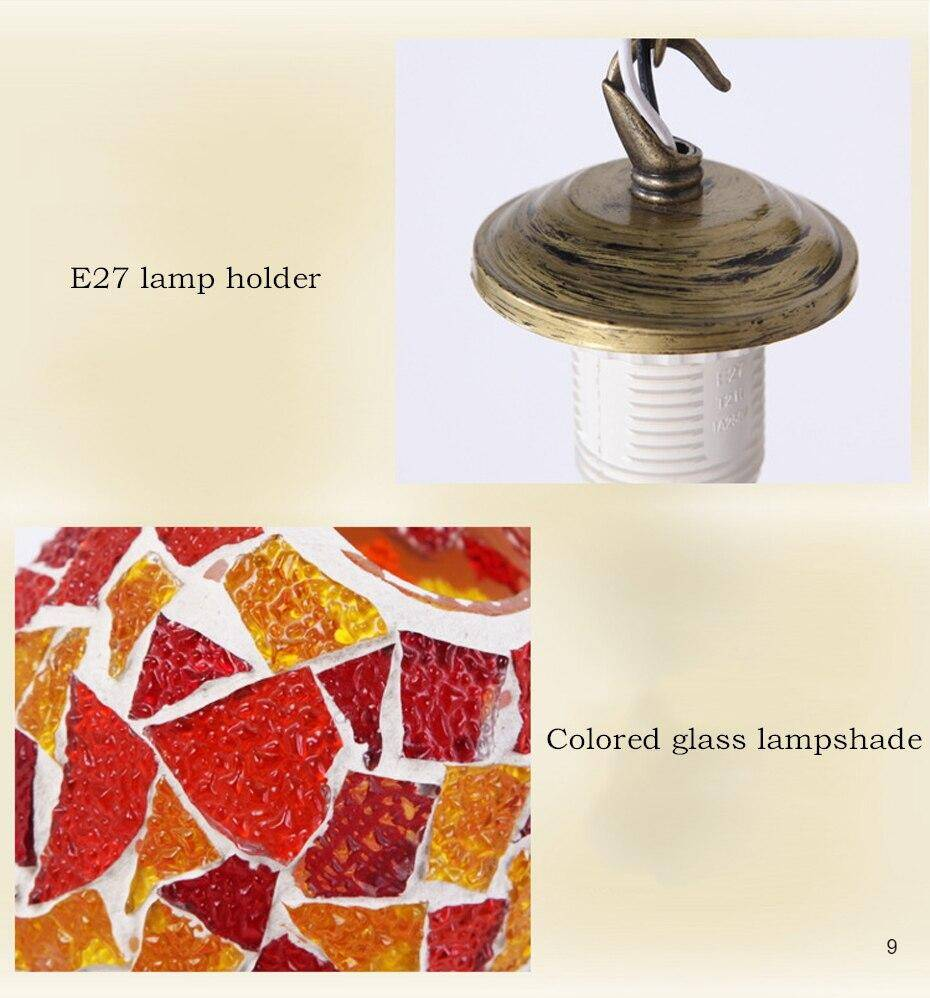 E27 Lamp holder and the colored glass lampshade