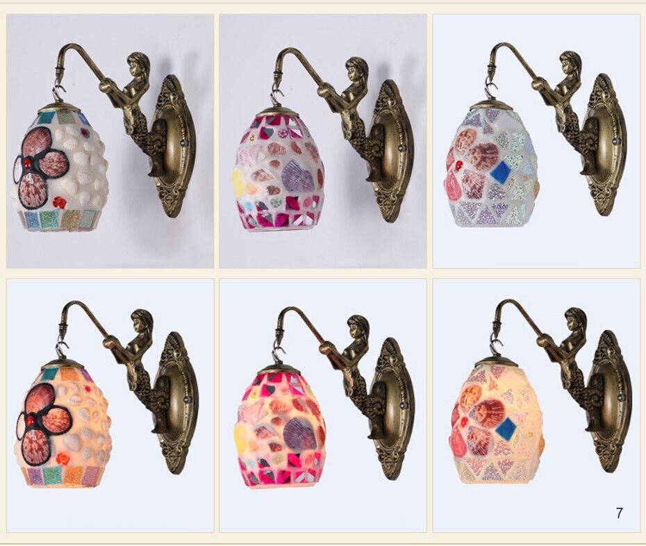 Choices of variety designs of Handmade stained glass lamps antique wall lights Mediterranean style