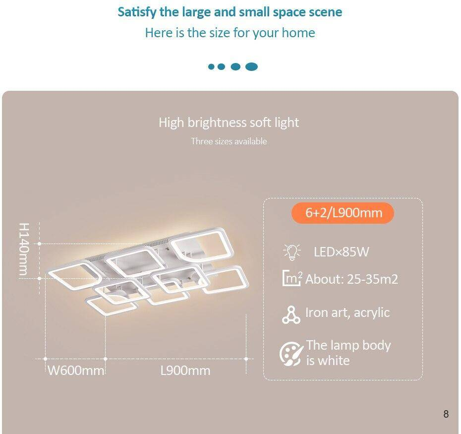 Satisfy the large and small space scene: dimension of LED Chandelier white lights