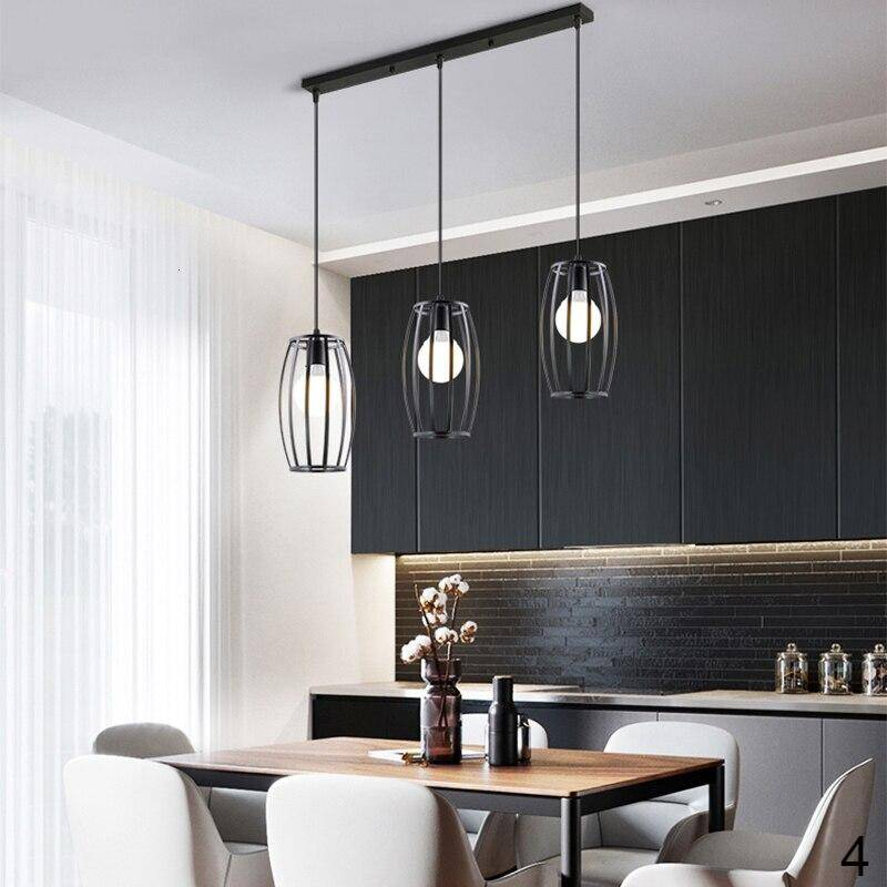 beautiful black color long plate 3 heads pendant lights