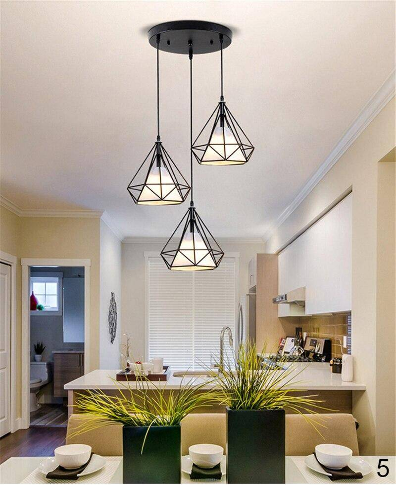 beautiful black color round plate 3 heads pendant lights