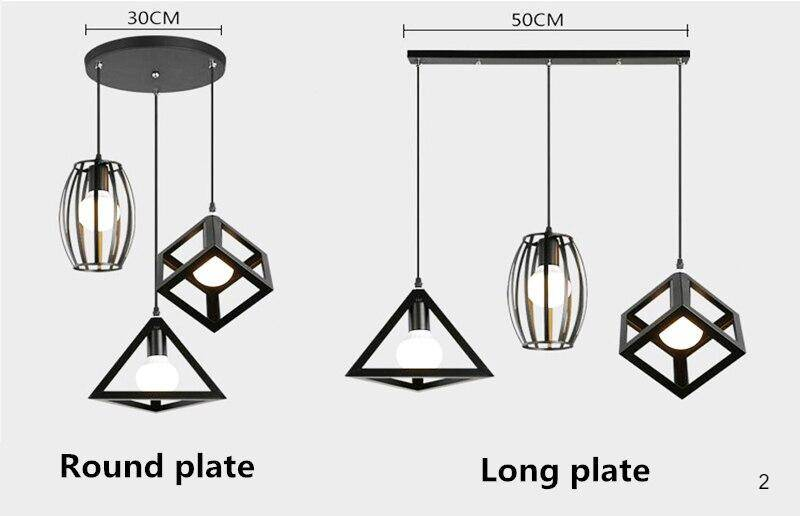 Round plate style and long plate style LED multi pendant lights