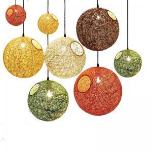 Spherical lantern pendant lamp E27 rattan lampshade pendant lights