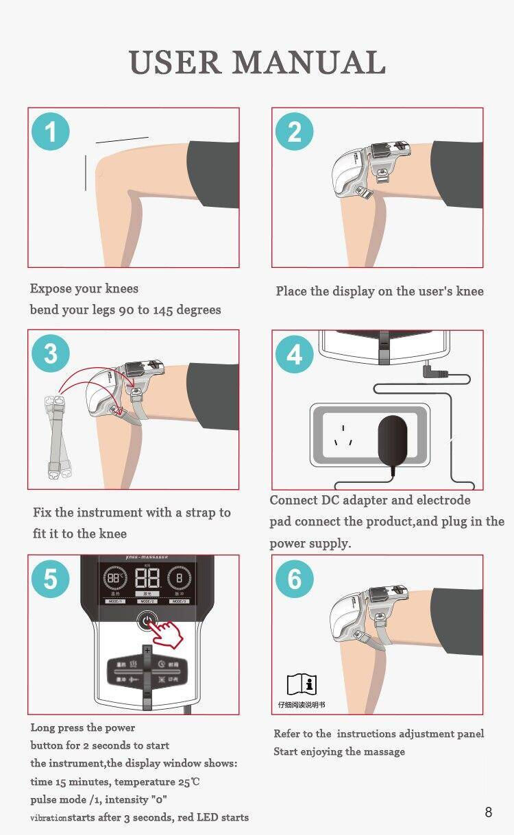 Instructions on how to use the knee joint massager
